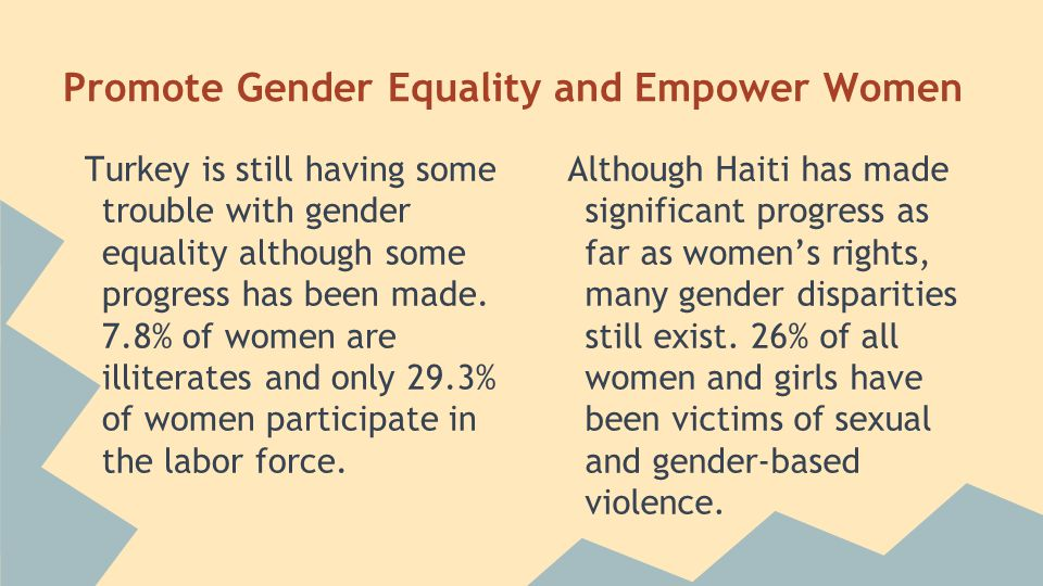 Promote Gender Equality and Empower Women Turkey is still having some trouble with gender equality although some progress has been made.