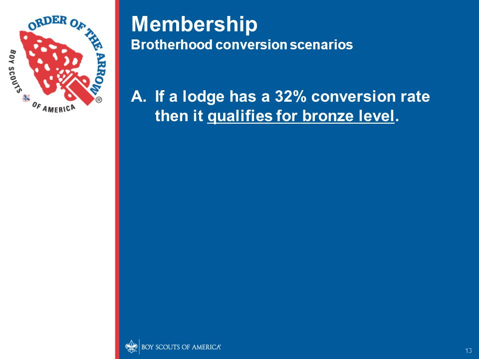 Membership Brotherhood conversion scenarios A.If a lodge has a 32% conversion rate then it qualifies for bronze level.