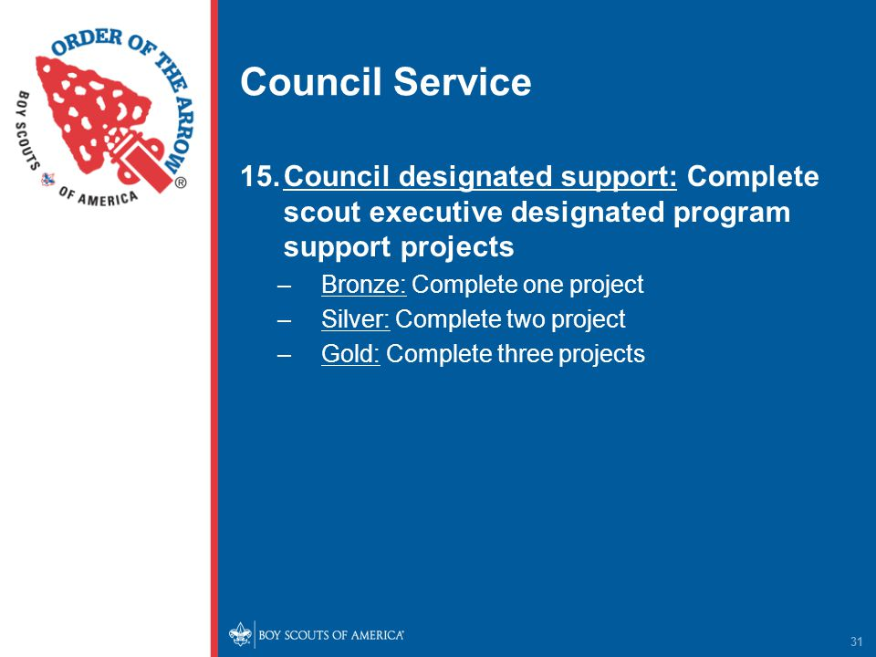 Council Service 15.Council designated support: Complete scout executive designated program support projects –Bronze: Complete one project –Silver: Complete two project –Gold: Complete three projects 31