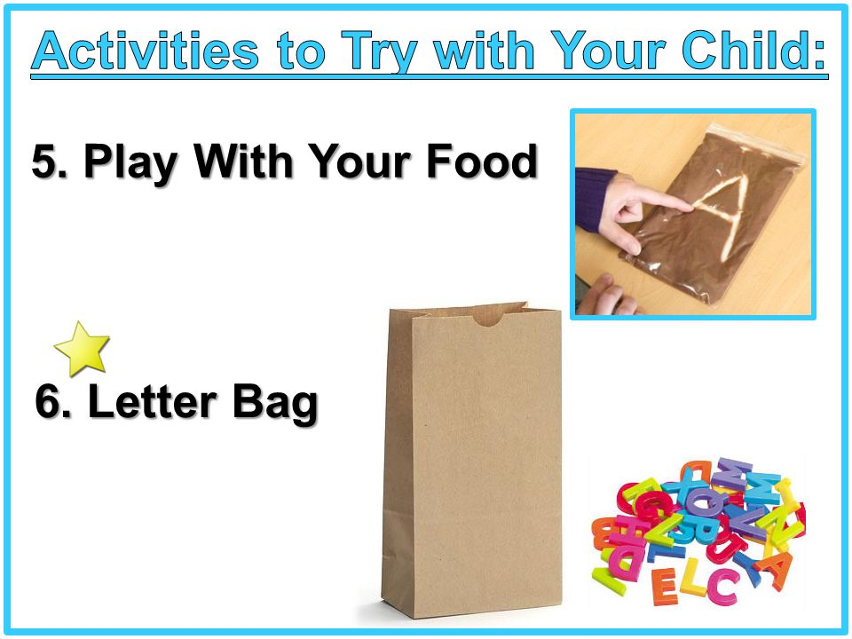 5. Play With Your Food 6. Letter Bag