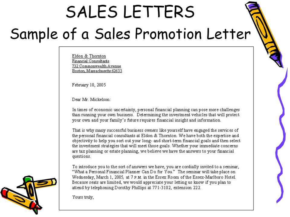 Promotional Sales Cover Letter