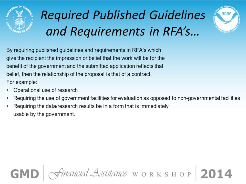 Required Published Guidelines and Requirements in RFA's…