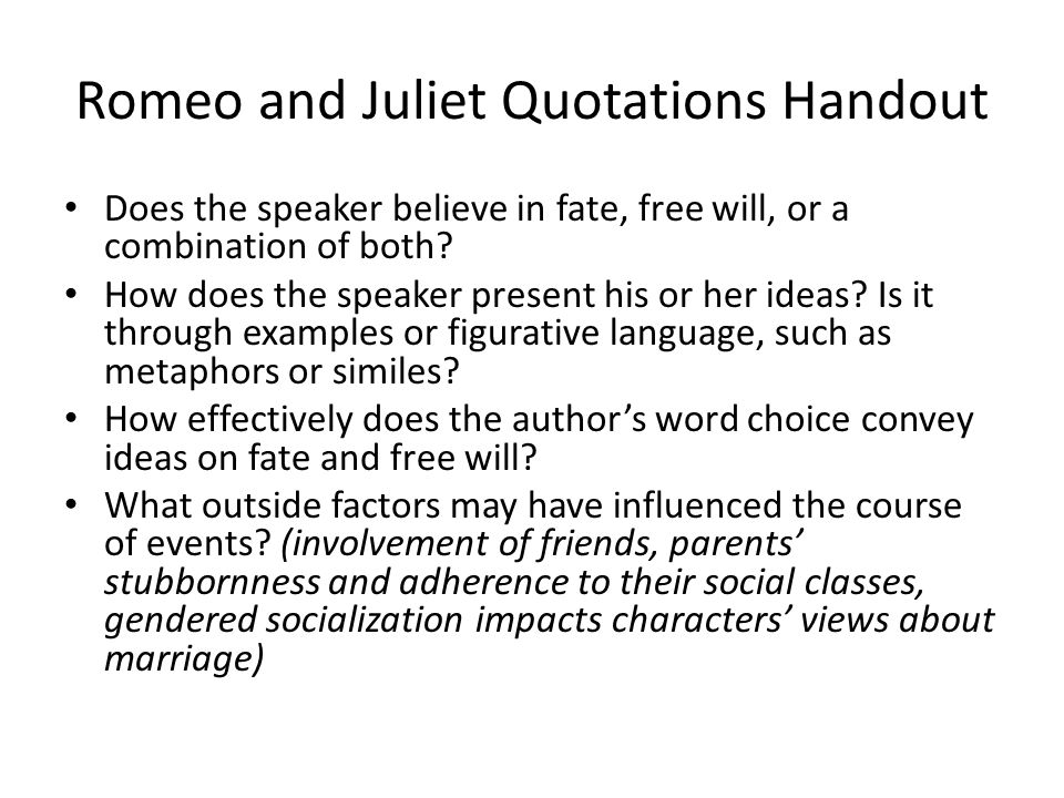 romeo and juliet thesis about fate