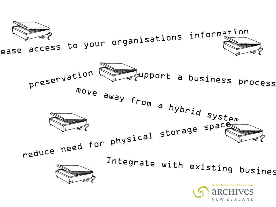 increase access to your organisations information Support a business process preservation move away from a hybrid system reduce need for physical storage space Integrate with existing business systems