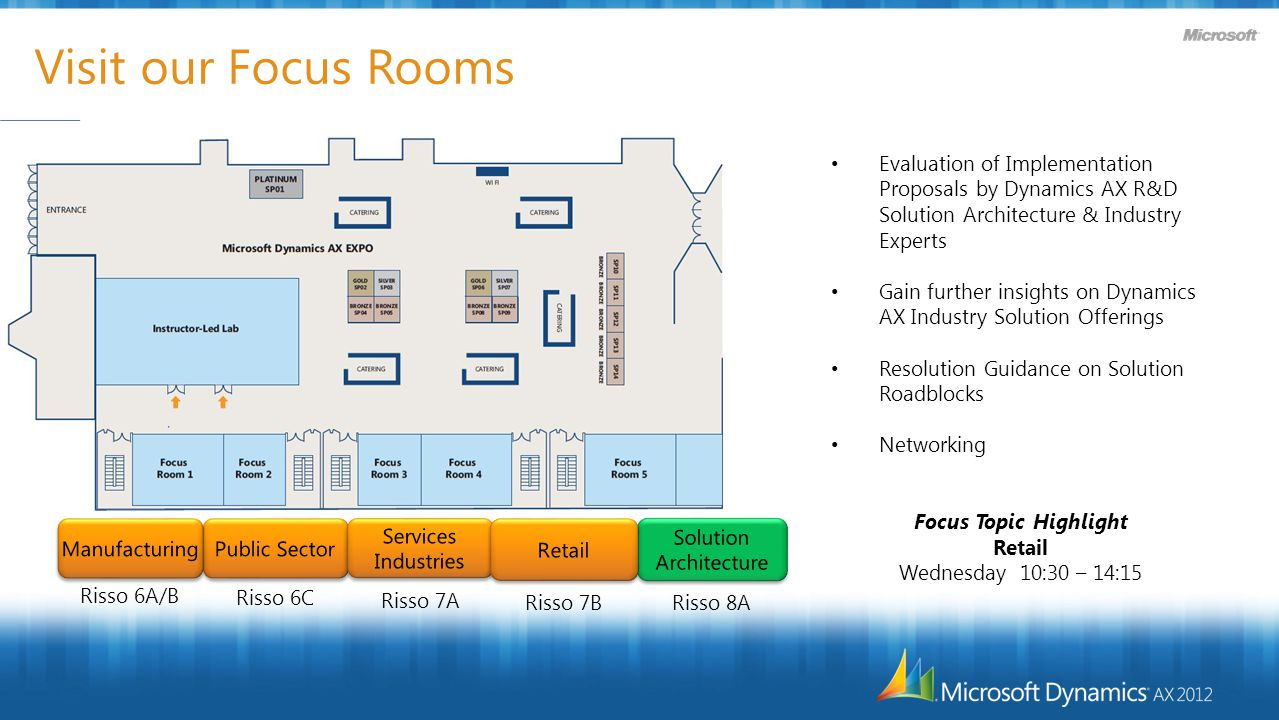 Visit our Focus Rooms Evaluation of Implementation Proposals by Dynamics AX R&D Solution Architecture & Industry Experts Gain further insights on Dynamics AX Industry Solution Offerings Resolution Guidance on Solution Roadblocks Networking Focus Topic Highlight Retail Wednesday 10:30 – 14:15 Risso 8A Risso 7B Risso 7A Risso 6C Risso 6A/B