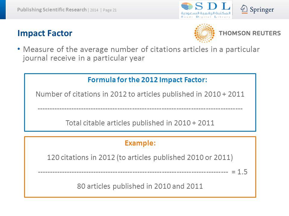 scientific research essays impact factor 2011