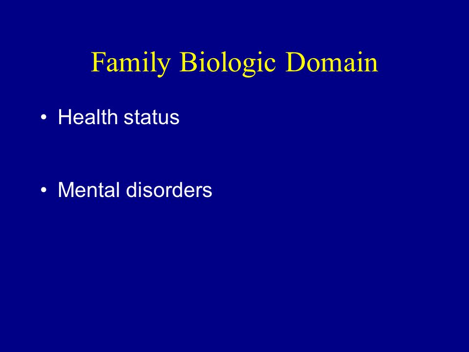 Family Biologic Domain Health status Mental disorders