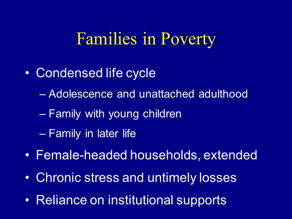Families in Poverty Condensed life cycle –Adolescence and unattached adulthood –Family with young children –Family in later life Female-headed households, extended Chronic stress and untimely losses Reliance on institutional supports