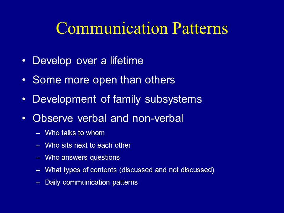 Communication Patterns Develop over a lifetime Some more open than others Development of family subsystems Observe verbal and non-verbal –Who talks to whom –Who sits next to each other –Who answers questions –What types of contents (discussed and not discussed) –Daily communication patterns