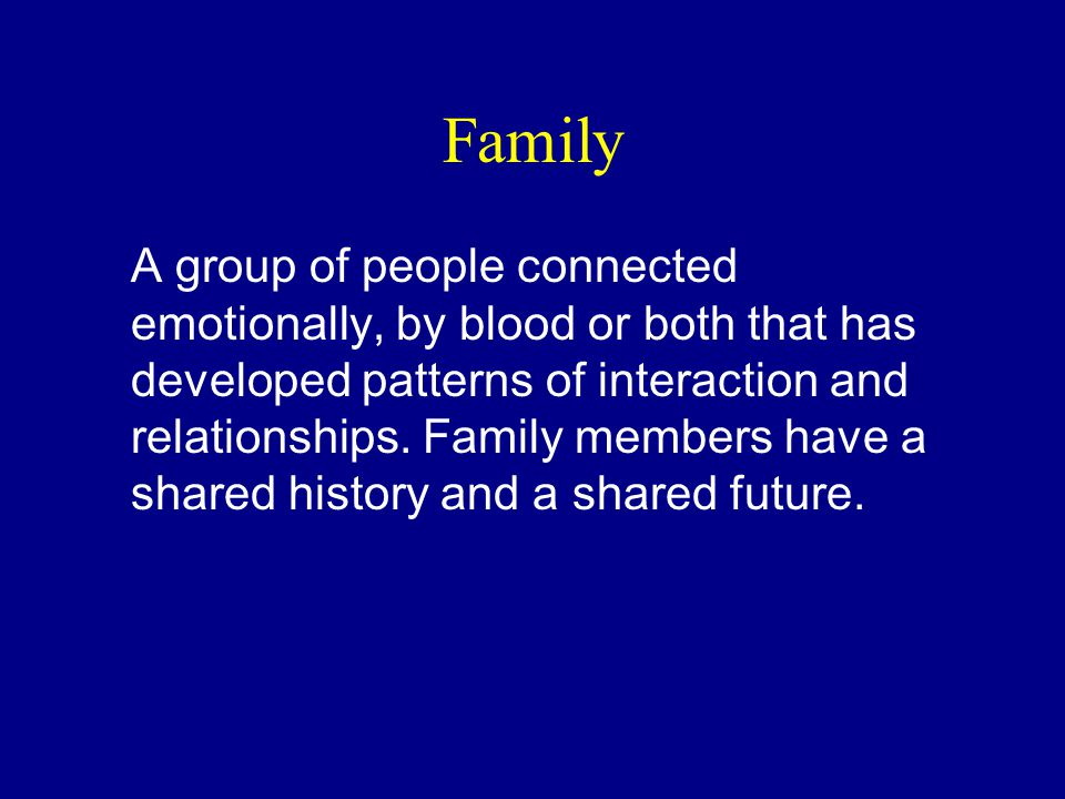 Family A group of people connected emotionally, by blood or both that has developed patterns of interaction and relationships.