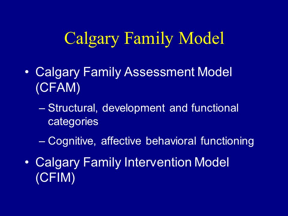 Calgary Family Model Calgary Family Assessment Model (CFAM) –Structural, development and functional categories –Cognitive, affective behavioral functioning Calgary Family Intervention Model (CFIM)