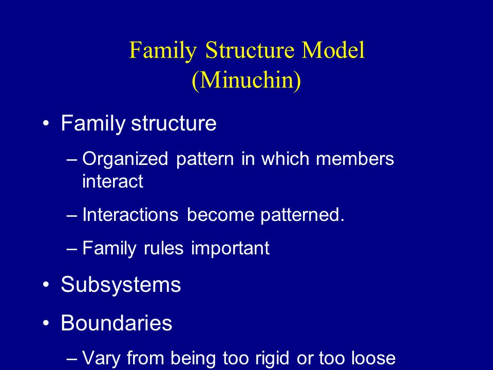 Family Structure Model (Minuchin) Family structure –Organized pattern in which members interact –Interactions become patterned.