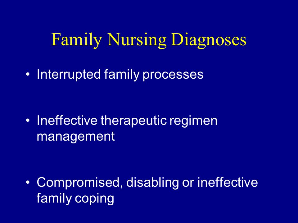 Family Nursing Diagnoses Interrupted family processes Ineffective therapeutic regimen management Compromised, disabling or ineffective family coping