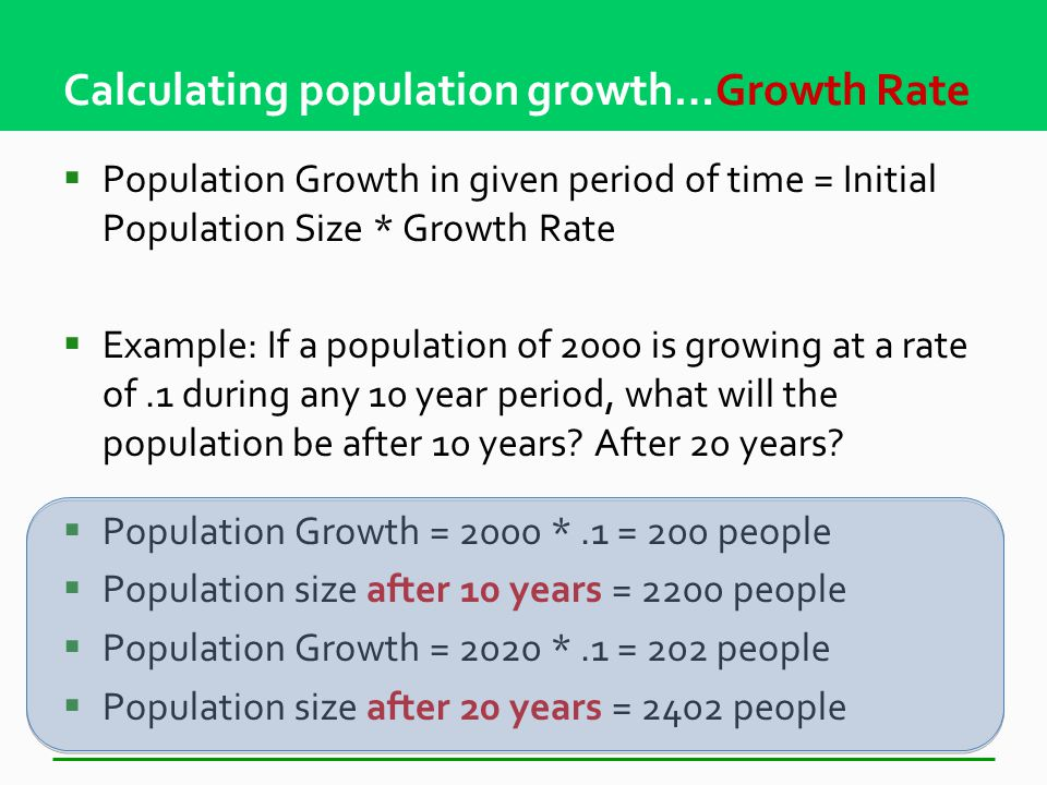 Calculating population growth… Rule of 70  Doubling time = 70/annual growth rate (in %)  Example: If a population is growing at a rate of 4%, how long will it take for the population to double.