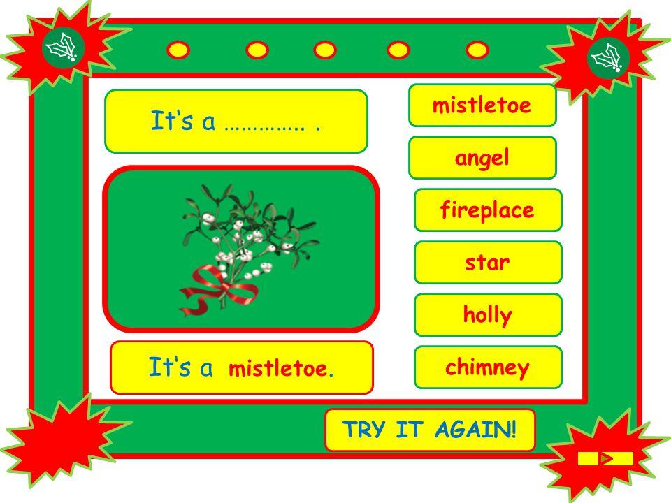 It's a …………... holly It's a mistletoe. TRY IT AGAIN! mistletoe fireplace chimney star angel