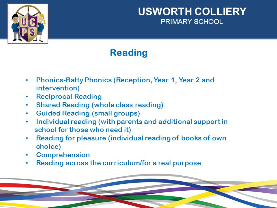 USWORTH COLLIERY PRIMARY SCHOOL Reading Phonics-Batty Phonics (Reception, Year 1, Year 2 and intervention) Reciprocal Reading Shared Reading (whole class reading) Guided Reading (small groups) Individual reading (with parents and additional support in school for those who need it) Reading for pleasure (individual reading of books of own choice) Comprehension Reading across the curriculum/for a real purpose.