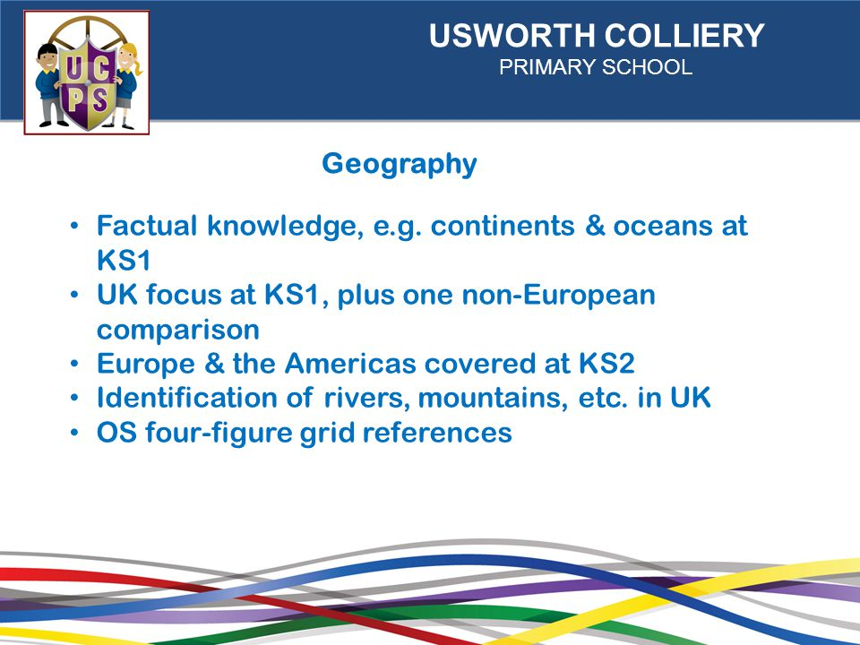 USWORTH COLLIERY PRIMARY SCHOOL Geography Factual knowledge, e.g.
