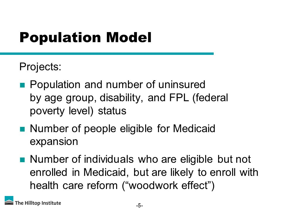 Population Model Projects: Population and number of uninsured by age group, disability, and FPL (federal poverty level) status Number of people eligible for Medicaid expansion Number of individuals who are eligible but not enrolled in Medicaid, but are likely to enroll with health care reform ( woodwork effect ) -5-