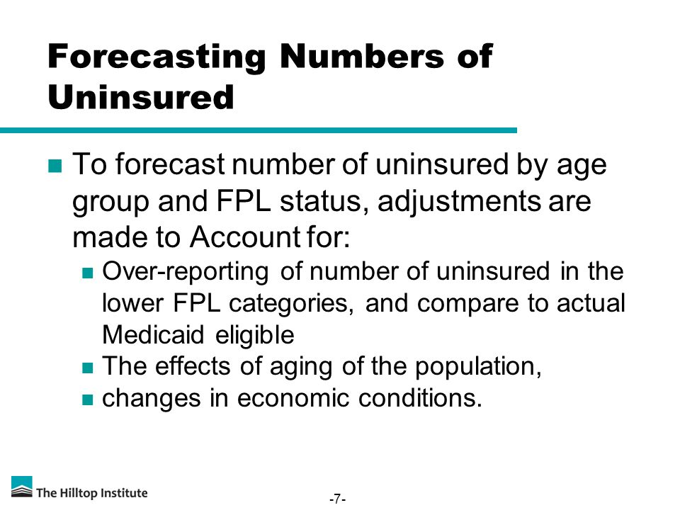 Forecasting Numbers of Uninsured To forecast number of uninsured by age group and FPL status, adjustments are made to Account for: Over-reporting of number of uninsured in the lower FPL categories, and compare to actual Medicaid eligible The effects of aging of the population, changes in economic conditions.