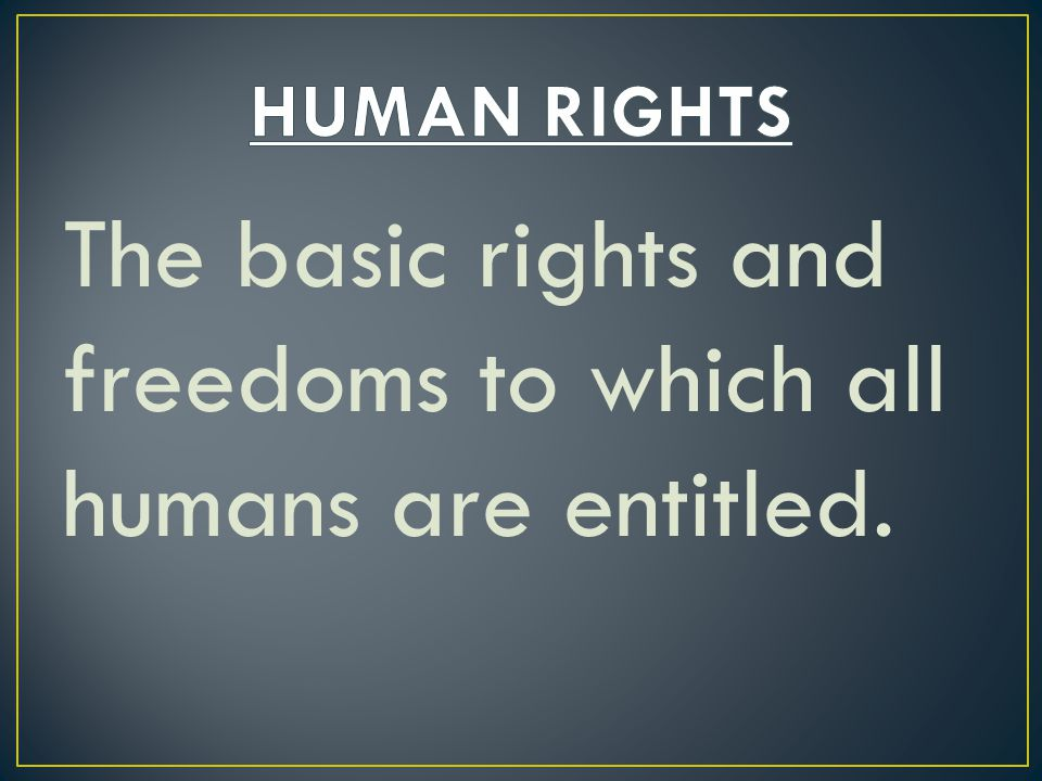The basic rights and freedoms to which all humans are entitled.