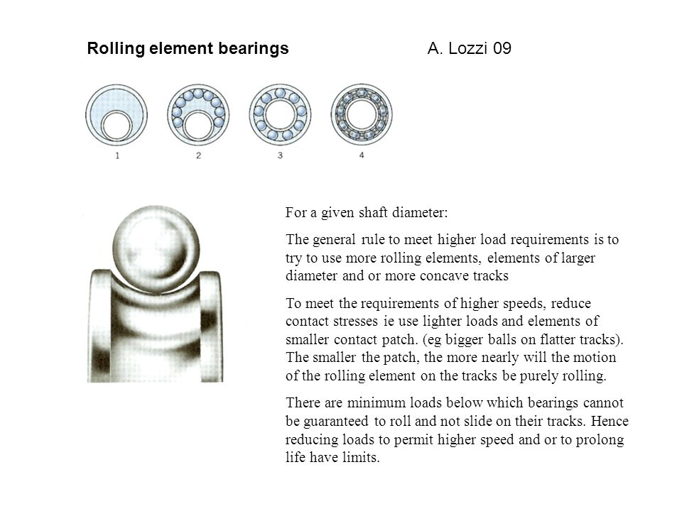 For a given shaft diameter: The general rule to meet higher load requirements is to try to use more rolling elements, elements of larger diameter and or more concave tracks To meet the requirements of higher speeds, reduce contact stresses ie use lighter loads and elements of smaller contact patch.