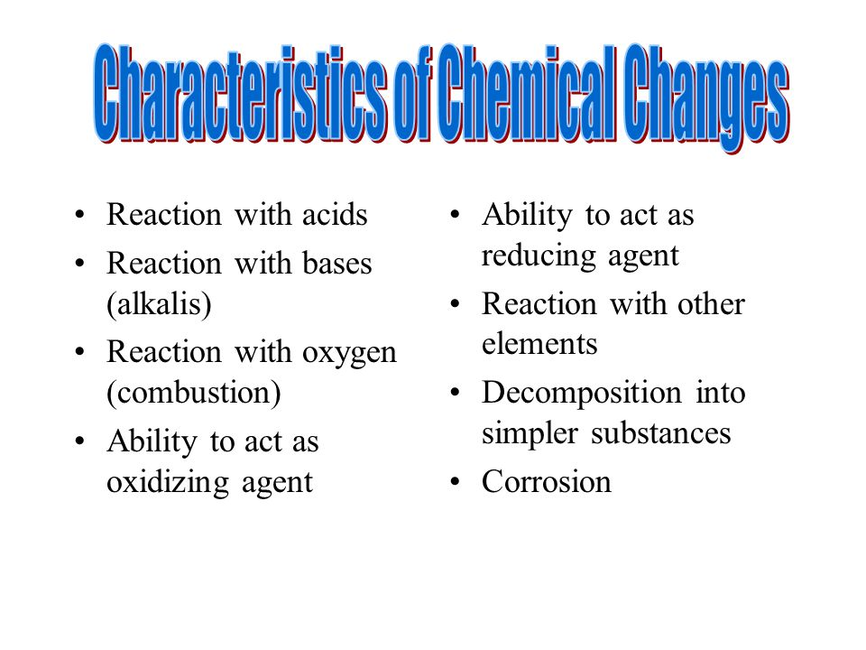 Reaction with acids Reaction with bases (alkalis) Reaction with oxygen (combustion) Ability to act as oxidizing agent Ability to act as reducing agent Reaction with other elements Decomposition into simpler substances Corrosion