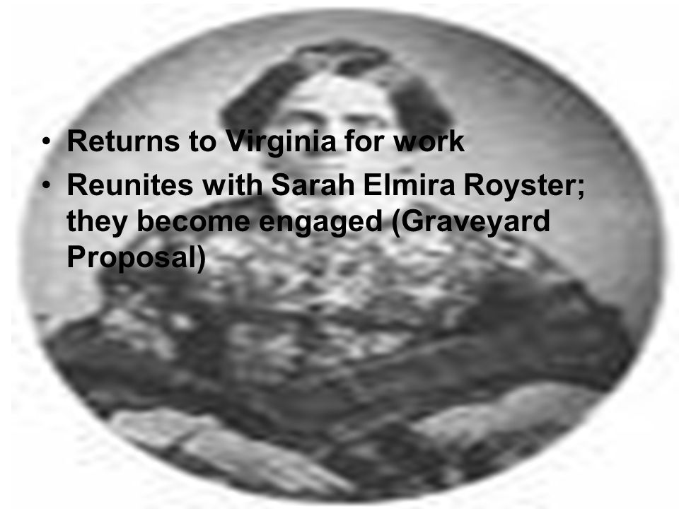 Returns to Virginia for work Reunites with Sarah Elmira Royster; they become engaged (Graveyard Proposal)