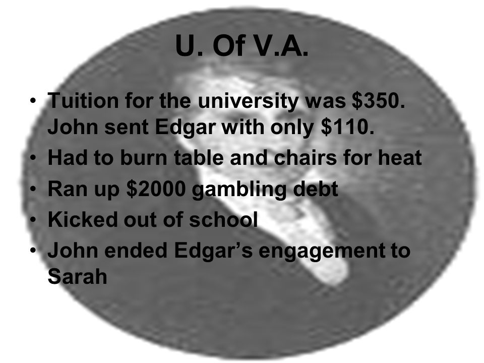U. Of V.A. Tuition for the university was $350. John sent Edgar with only $110.