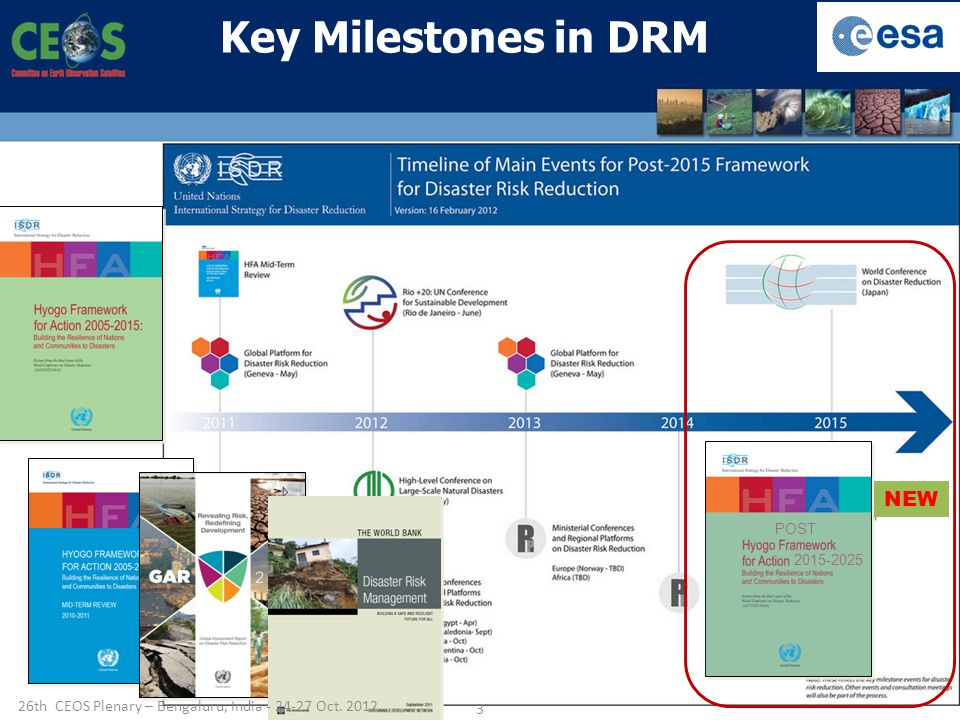 NEW POST Key Milestones in DRM 26th CEOS Plenary – Bengaluru, India Oct