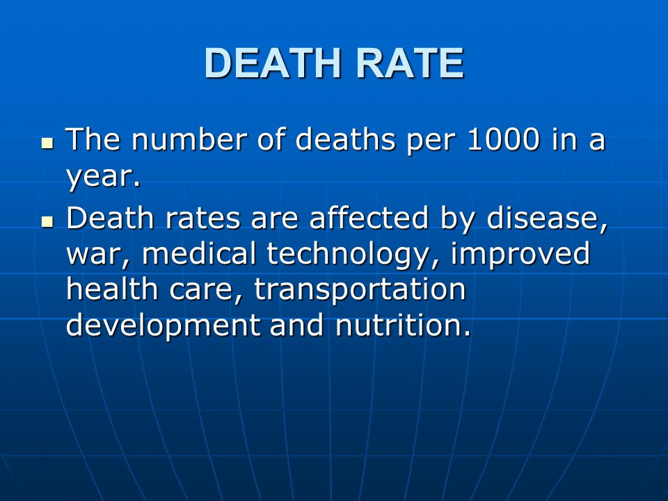 DEATH RATE The number of deaths per 1000 in a year.