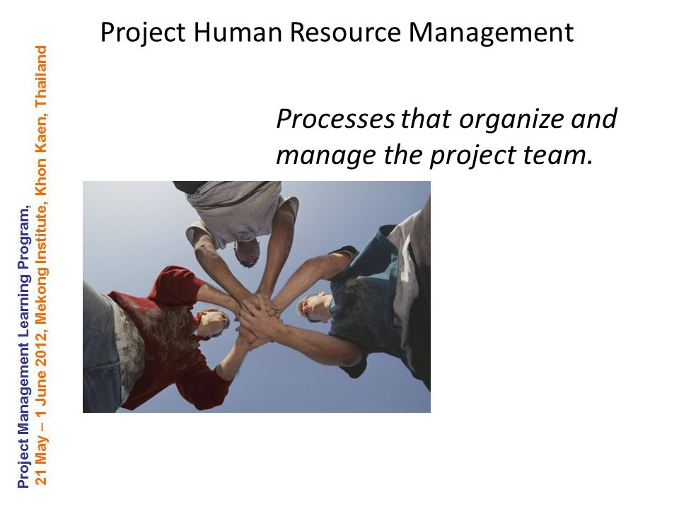 Processes that organize and manage the project team. Project Human Resource Management