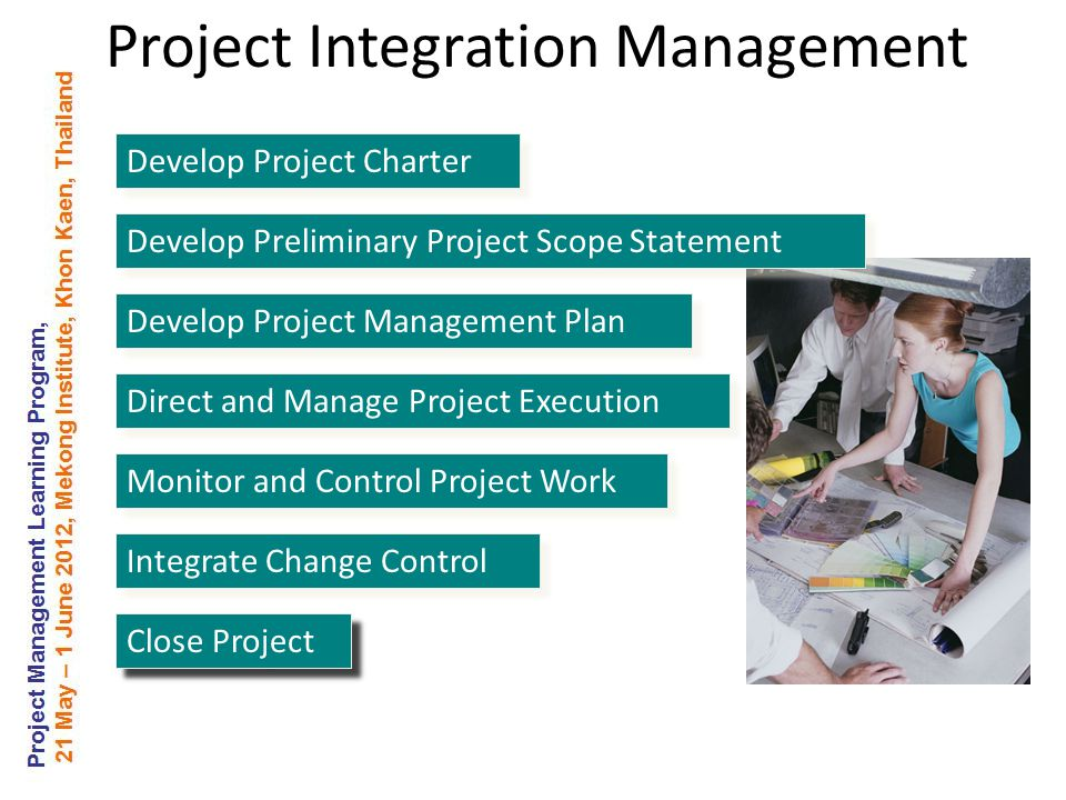 Develop Project Charter Develop Preliminary Project Scope Statement Develop Project Management Plan Direct and Manage Project Execution Monitor and Control Project Work Integrate Change Control Close Project