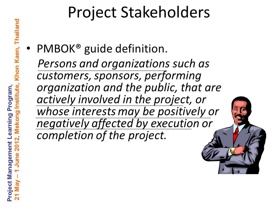 Project Stakeholders PMBOK® guide definition.