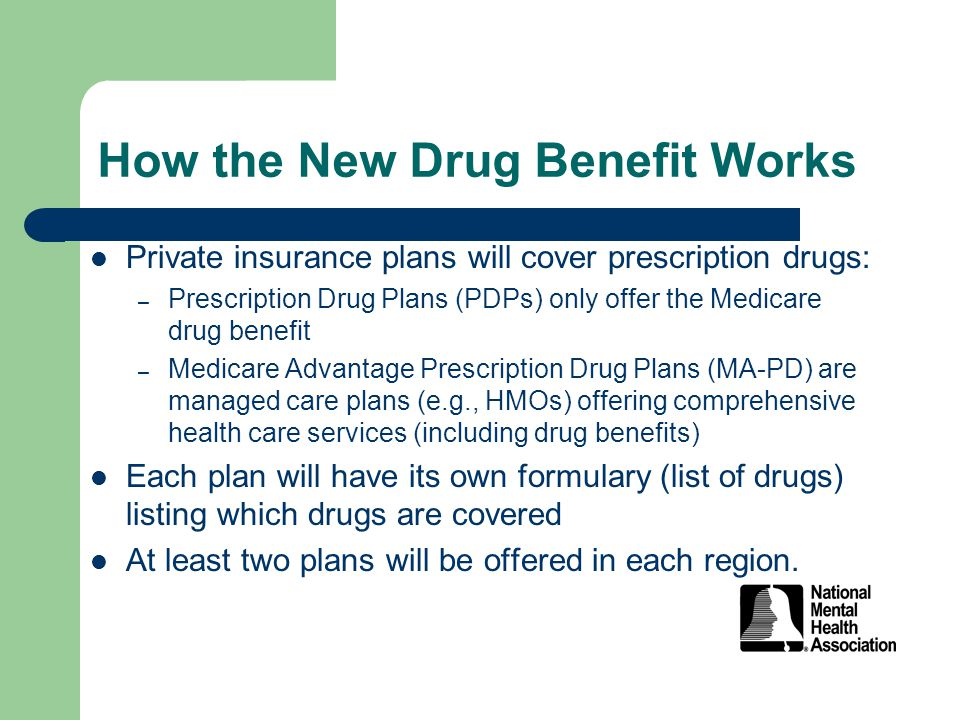 How the New Drug Benefit Works Private insurance plans will cover prescription drugs: – Prescription Drug Plans (PDPs) only offer the Medicare drug benefit – Medicare Advantage Prescription Drug Plans (MA-PD) are managed care plans (e.g., HMOs) offering comprehensive health care services (including drug benefits) Each plan will have its own formulary (list of drugs) listing which drugs are covered At least two plans will be offered in each region.