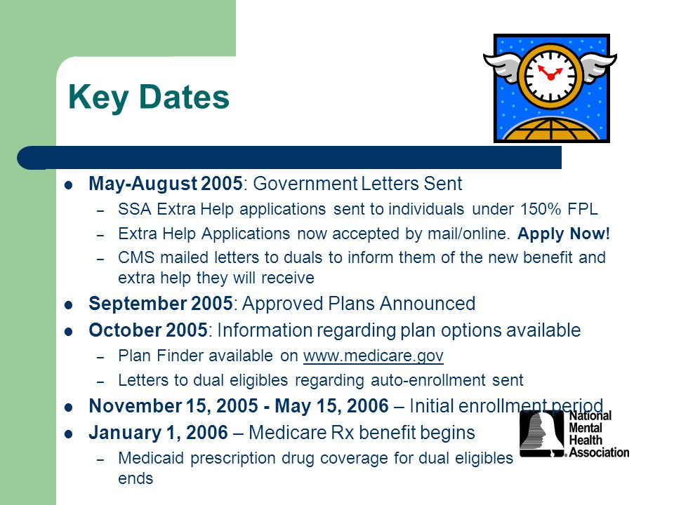 Key Dates May-August 2005: Government Letters Sent – SSA Extra Help applications sent to individuals under 150% FPL – Extra Help Applications now accepted by mail/online.