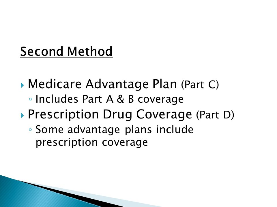 Second Method  Medicare Advantage Plan (Part C) ◦ Includes Part A & B coverage  Prescription Drug Coverage (Part D) ◦ Some advantage plans include prescription coverage