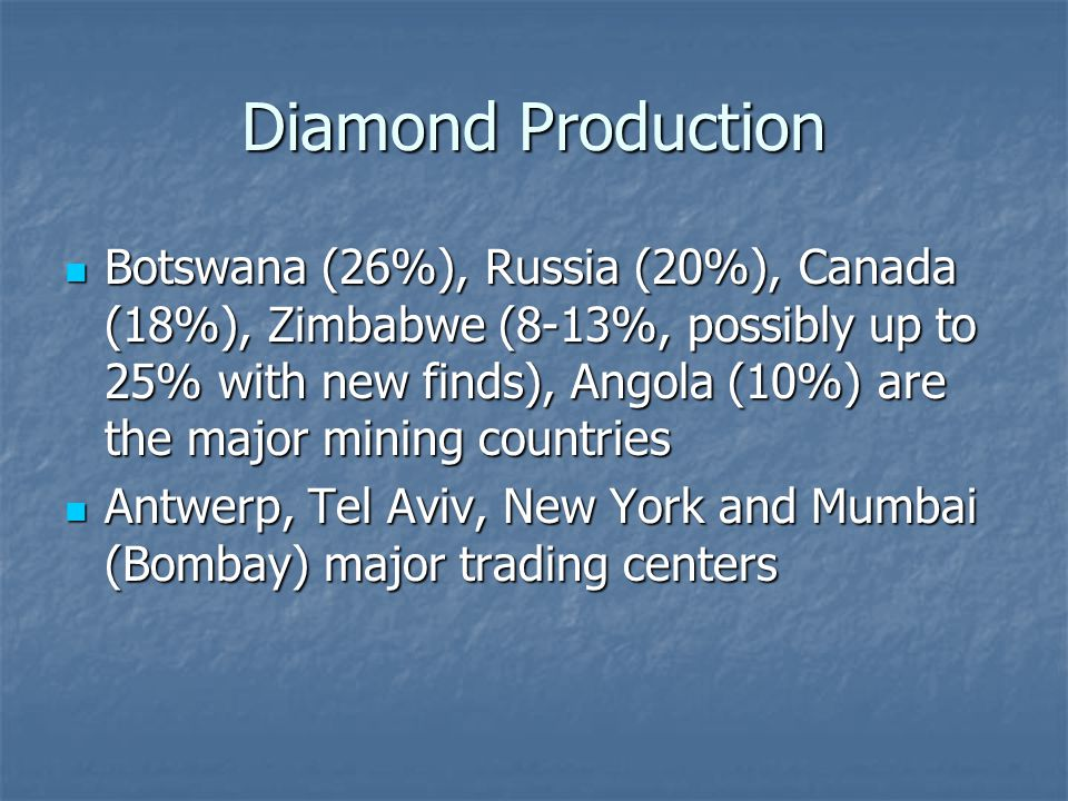 Diamond Production Botswana (26%), Russia (20%), Canada (18%), Zimbabwe (8-13%, possibly up to 25% with new finds), Angola (10%) are the major mining countries Botswana (26%), Russia (20%), Canada (18%), Zimbabwe (8-13%, possibly up to 25% with new finds), Angola (10%) are the major mining countries Antwerp, Tel Aviv, New York and Mumbai (Bombay) major trading centers Antwerp, Tel Aviv, New York and Mumbai (Bombay) major trading centers