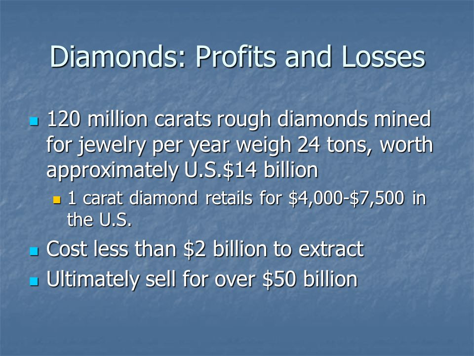 Diamonds: Profits and Losses 120 million carats rough diamonds mined for jewelry per year weigh 24 tons, worth approximately U.S.$14 billion 120 million carats rough diamonds mined for jewelry per year weigh 24 tons, worth approximately U.S.$14 billion 1 carat diamond retails for $4,000-$7,500 in the U.S.