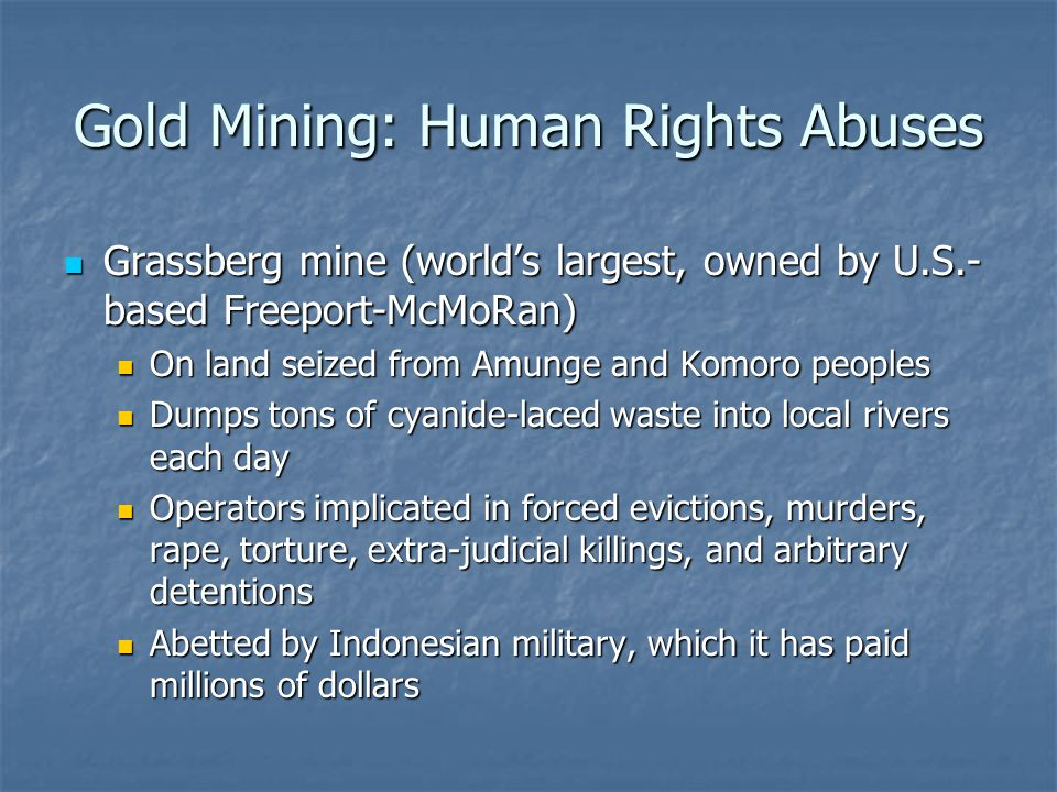Gold Mining: Human Rights Abuses Grassberg mine (world's largest, owned by U.S.- based Freeport-McMoRan) Grassberg mine (world's largest, owned by U.S.- based Freeport-McMoRan) On land seized from Amunge and Komoro peoples On land seized from Amunge and Komoro peoples Dumps tons of cyanide-laced waste into local rivers each day Dumps tons of cyanide-laced waste into local rivers each day Operators implicated in forced evictions, murders, rape, torture, extra-judicial killings, and arbitrary detentions Operators implicated in forced evictions, murders, rape, torture, extra-judicial killings, and arbitrary detentions Abetted by Indonesian military, which it has paid millions of dollars Abetted by Indonesian military, which it has paid millions of dollars