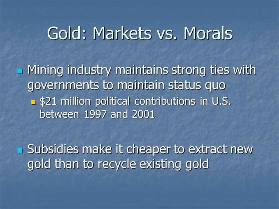 Gold: Markets vs.