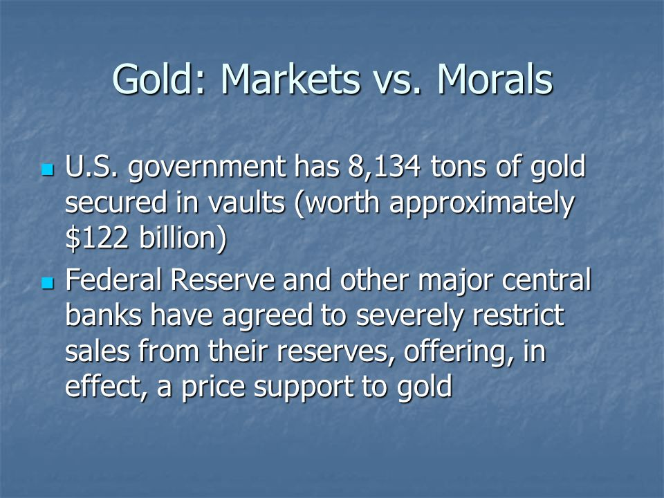 Gold: Markets vs. Morals U.S.