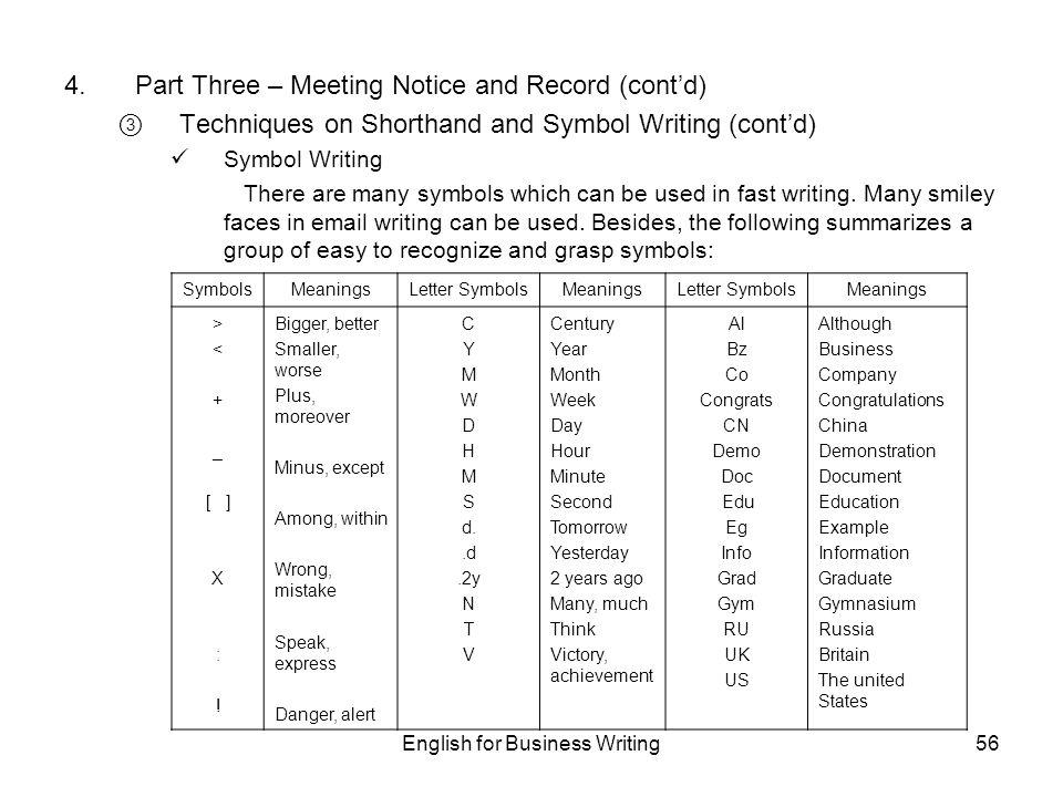 Symbols used in english writing