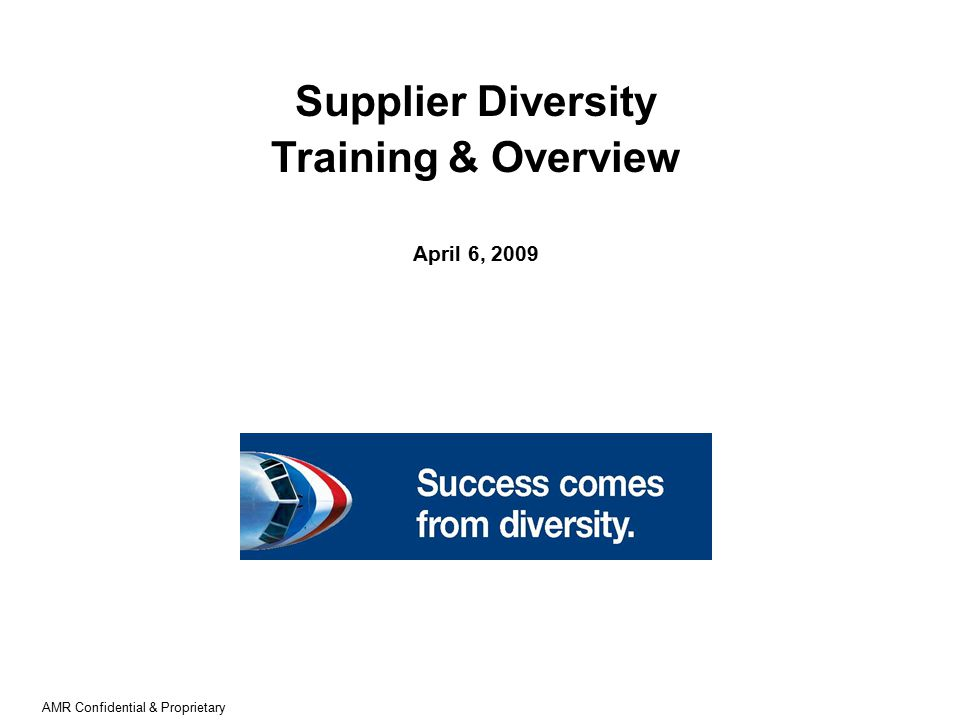 AMR Confidential & Proprietary Supplier Diversity Training & Overview April 6, 2009