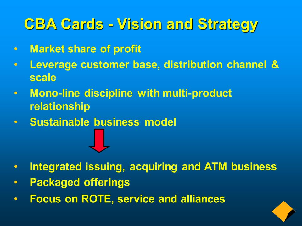 CBA Cards - Vision and Strategy Market share of profit Leverage customer base, distribution channel & scale Mono-line discipline with multi-product relationship Sustainable business model Integrated issuing, acquiring and ATM business Packaged offerings Focus on ROTE, service and alliances