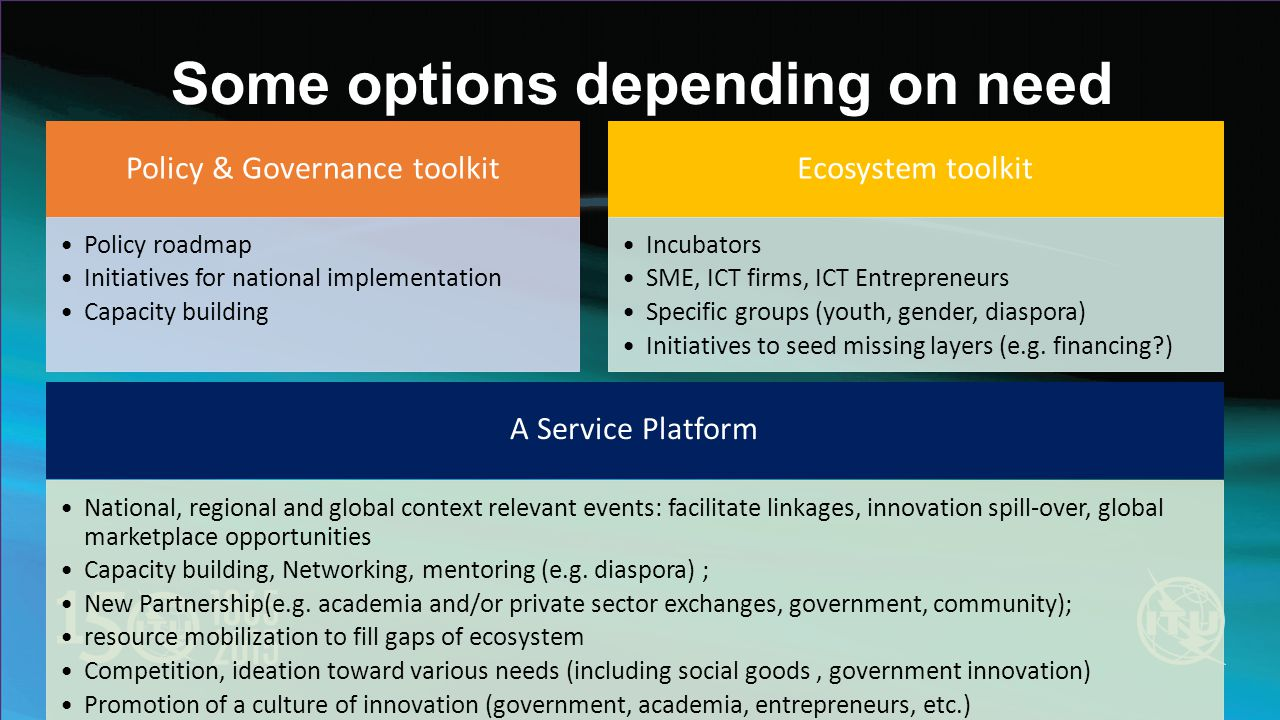 Some options depending on need Policy & Governance toolkit Policy roadmap Initiatives for national implementation Capacity building Ecosystem toolkit Incubators SME, ICT firms, ICT Entrepreneurs Specific groups (youth, gender, diaspora) Initiatives to seed missing layers (e.g.