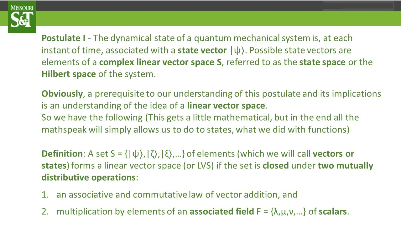 Postulate I - The dynamical state of a quantum mechanical system is, at each instant of time, associated with a state vector |ψ 〉.