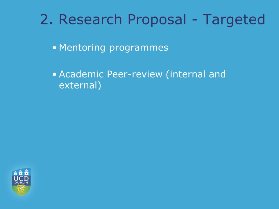 2. Research Proposal - Targeted Mentoring programmes Academic Peer-review (internal and external)