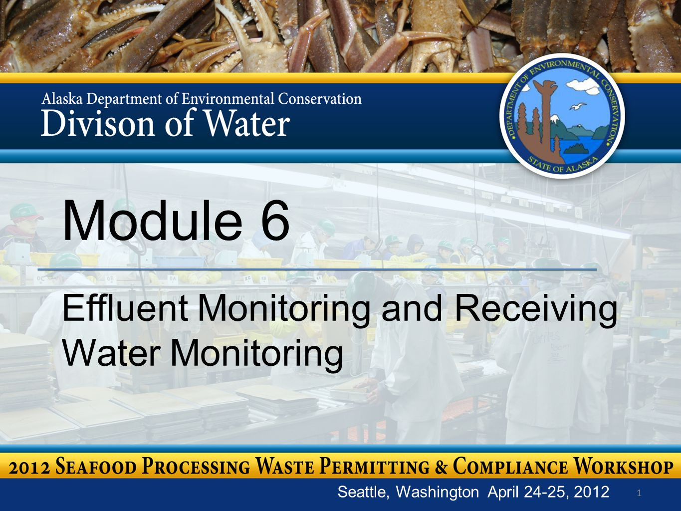 1 Module 6 Effluent Monitoring and Receiving Water Monitoring Seattle, Washington April 24-25, 2012