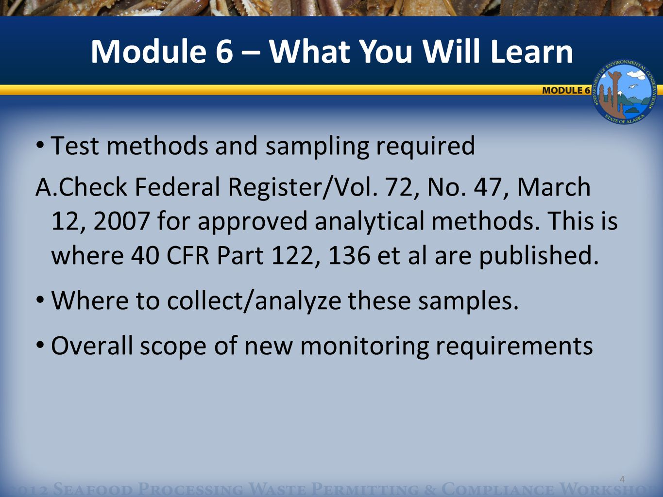 4 Test methods and sampling required A.Check Federal Register/Vol.