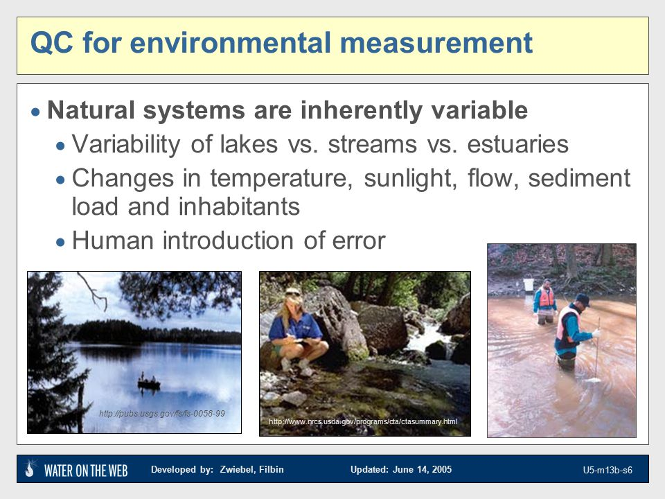 Developed by: Zwiebel, Filbin Updated: June 14, 2005 U5-m13b-s6 QC for environmental measurement  Natural systems are inherently variable  Variability of lakes vs.